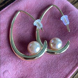 Ecolvant Open Hoop Earrings w/ champagne Pearl New